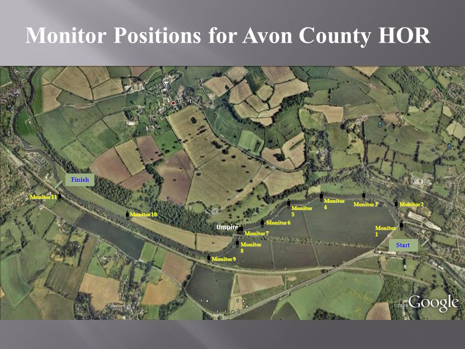 Monitor Positions for Avon County HOR Monitor 1 Start Monitor 2 Monitor 3 Monitor 4 Monitor 5 Monitor 8 Monitor 10 Monitor 9 Monitor 6 Monitor 7 Monit