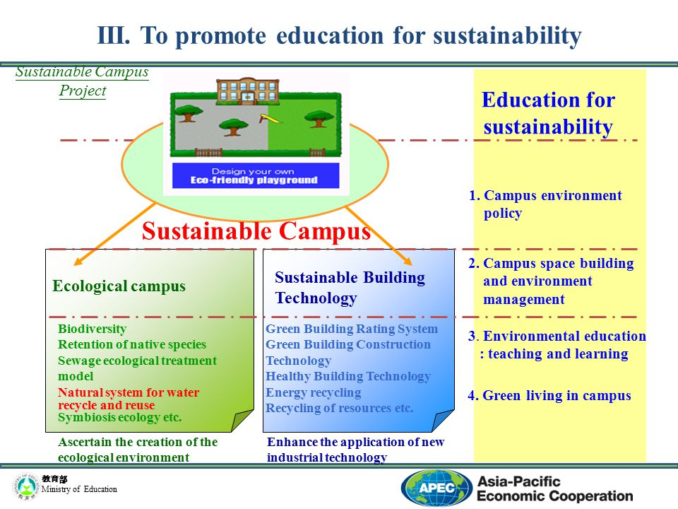 教育部 Ministry of Education Ecological campus Biodiversity Retention of native species Sewage ecological treatment model Natural system for water recycle and reuse Symbiosis ecology etc.