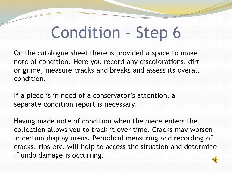 Condition – Step 6 On the catalogue sheet there is provided a space to make note of condition. Here you record any discolorations, dirt or grime, meas