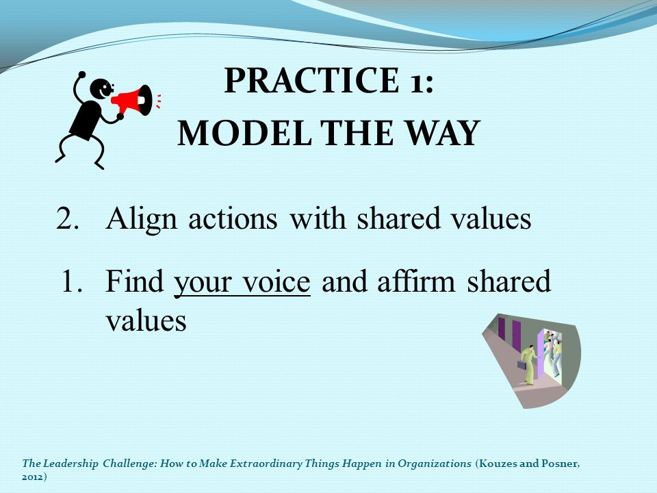 PRACTICE 1: MODEL THE WAY 2.Align actions with shared values 1.Find your voice and affirm shared values The Leadership Challenge: How to Make Extraord