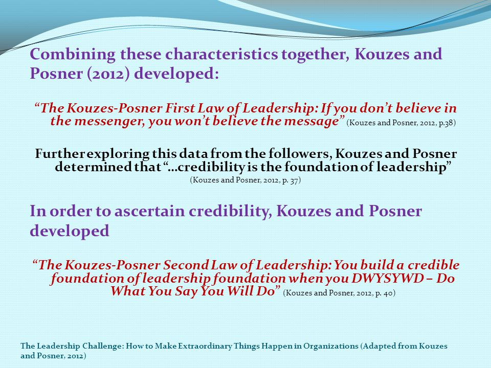 """Combining these characteristics together, Kouzes and Posner (2012) developed: """"The Kouzes-Posner First Law of Leadership: If you don't believe in the"""