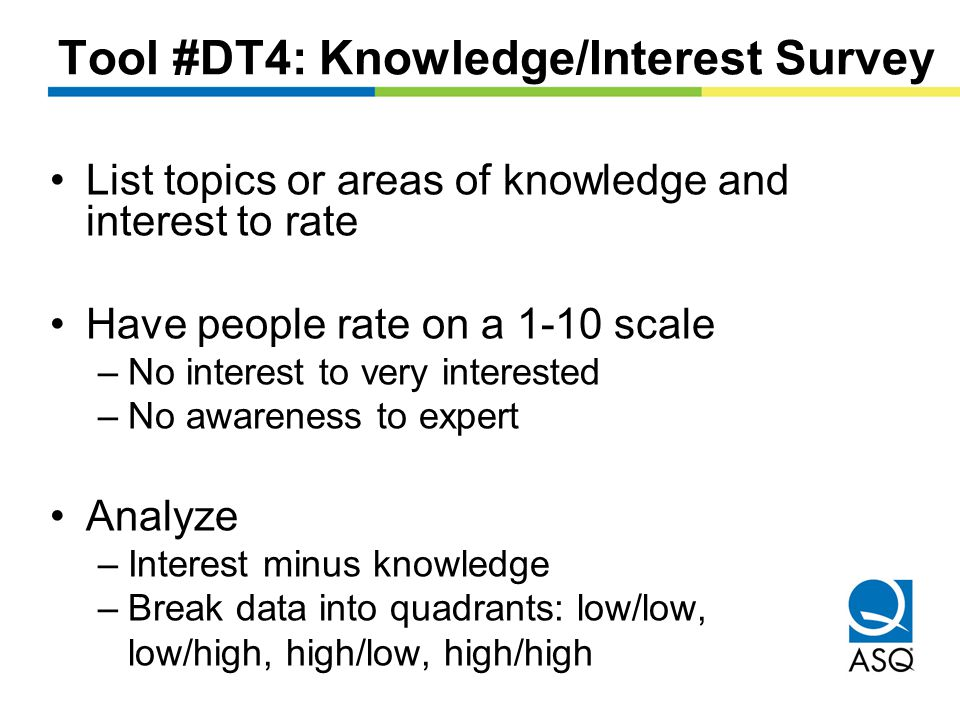 Tool #DT4: Knowledge/Interest Survey List topics or areas of knowledge and interest to rate Have people rate on a 1-10 scale –No interest to very interested –No awareness to expert Analyze –Interest minus knowledge –Break data into quadrants: low/low, low/high, high/low, high/high
