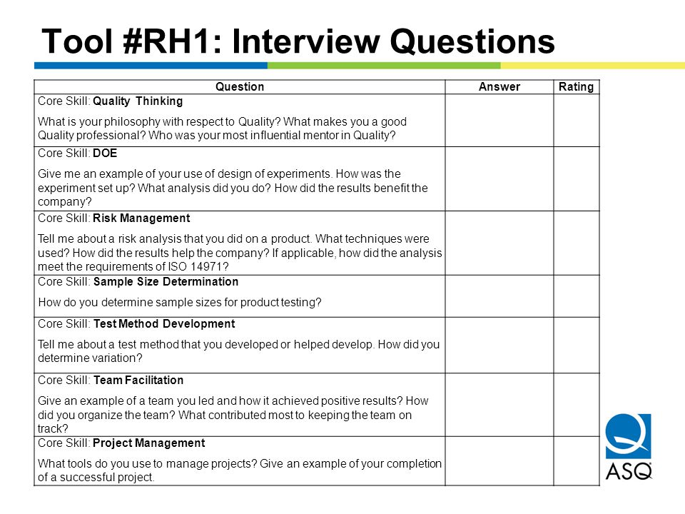 Tool #RH1: Interview Questions QuestionAnswerRating Core Skill: Quality Thinking What is your philosophy with respect to Quality.