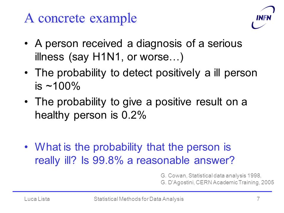 Luca ListaStatistical Methods for Data Analysis8 Conditional probability Probability to be really ill = conditioned probability after the event of the positive diagnosis –P(+ | ill) = 100%, P(  | ill) << 1 –P(+ | healthy) = 0.2%, P(  | healthy) = 99.8% Using Bayes theorem: –P(ill | +) = P(+ | ill) P(ill) / P(+)  P(ill) / P(+) We need to know: – P(ill) = probability that a random person is ill ( << P(healthy) ) And we have: –Using: P(ill) + P(healthy) = 1 and P(ill and healty) = 0 –P(+) = P(+ | ill) P(ill) + P(+| healthy) P(healthy)  P(ill) + P(+ | healthy)