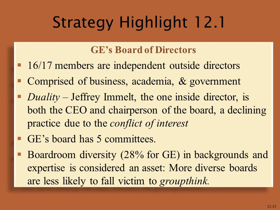 12-13 Strategy Highlight 12.1 GE's Board of Directors  16/17 members are independent outside directors  Comprised of business, academia, & governmen