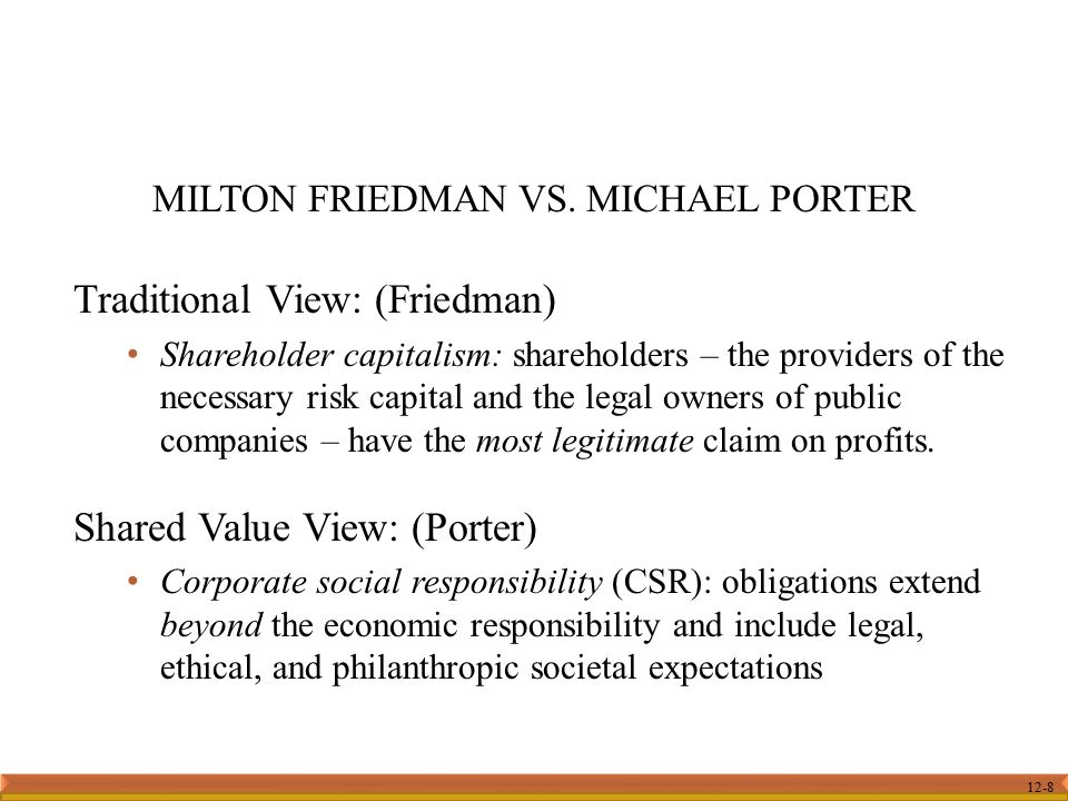12-8 Traditional View: (Friedman) Shareholder capitalism: shareholders – the providers of the necessary risk capital and the legal owners of public co
