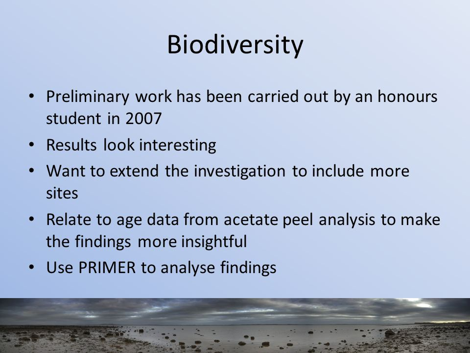 Biodiversity Preliminary work has been carried out by an honours student in 2007 Results look interesting Want to extend the investigation to include more sites Relate to age data from acetate peel analysis to make the findings more insightful Use PRIMER to analyse findings