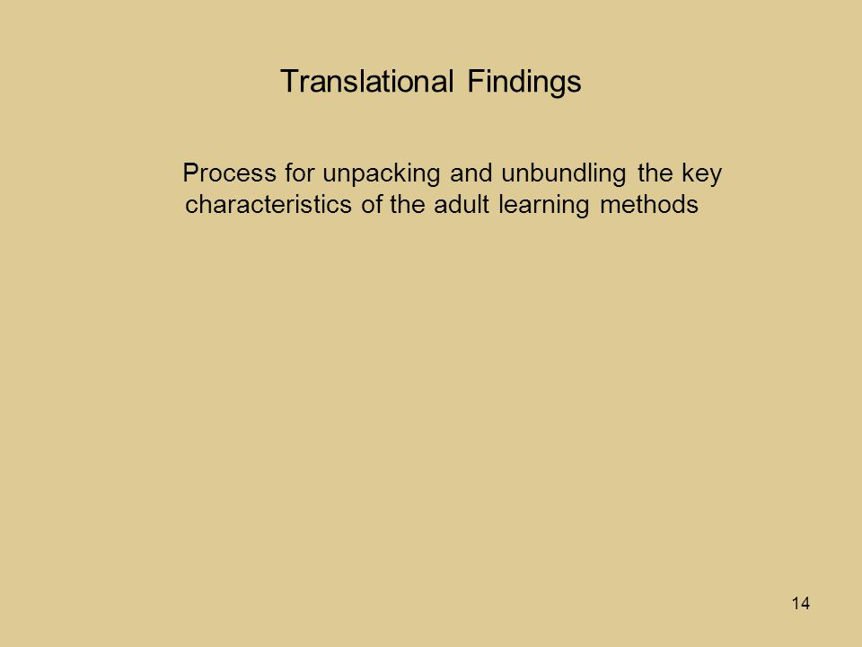 14 Translational Findings Process for unpacking and unbundling the key characteristics of the adult learning methods