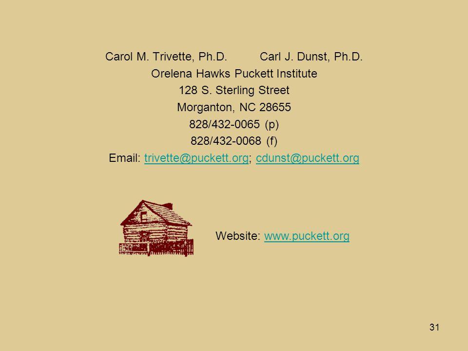 31 Carol M. Trivette, Ph.D. Carl J. Dunst, Ph.D.