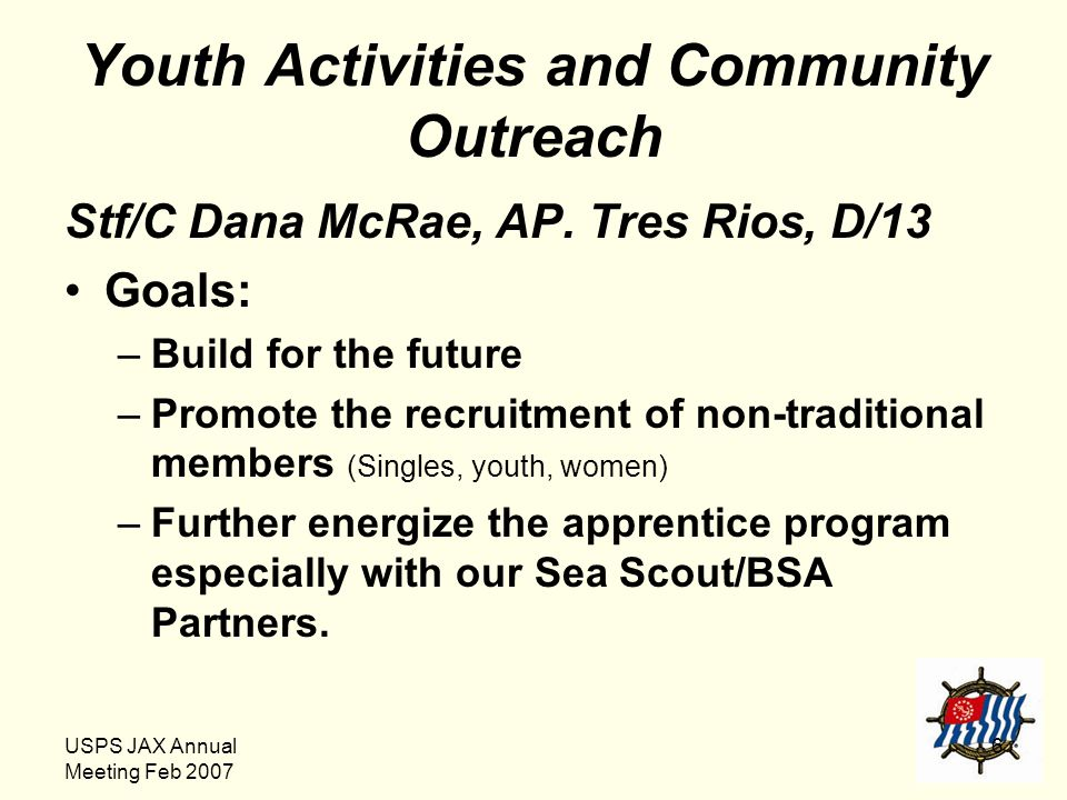 USPS JAX Annual Meeting Feb 2007 6 Youth Activities and Community Outreach Stf/C Dana McRae, AP. Tres Rios, D/13 Goals: –Build for the future –Promote