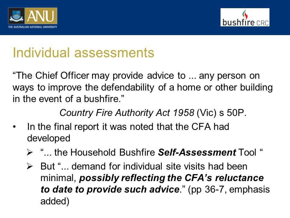 Individual assessments The Chief Officer may provide advice to...