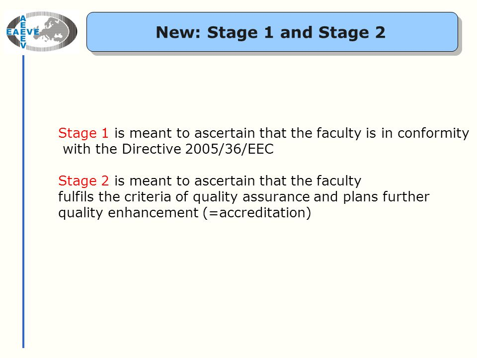 New: Stage 1 and Stage 2 Stage 1 is meant to ascertain that the faculty is in conformity with the Directive 2005/36/EEC Stage 2 is meant to ascertain that the faculty fulfils the criteria of quality assurance and plans further quality enhancement (=accreditation)
