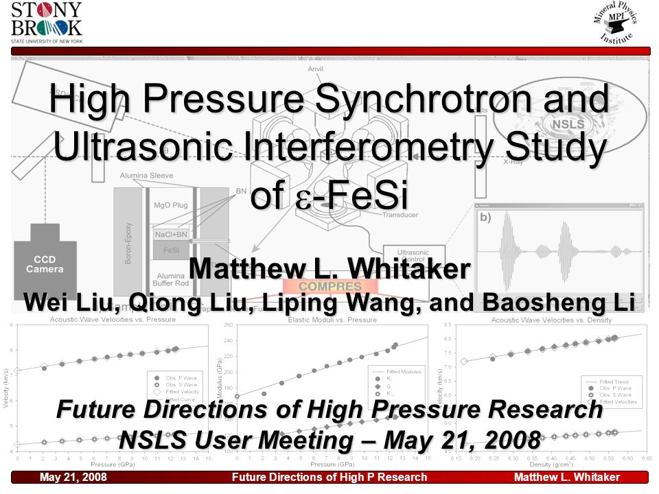 Matthew L. WhitakerMay 21, 2008Future Directions of High P Research High Pressure Synchrotron and Ultrasonic Interferometry Study of  -FeSi Future Di
