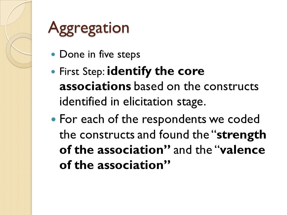 Aggregation Done in five steps First Step: identify the core associations based on the constructs identified in elicitation stage. For each of the res