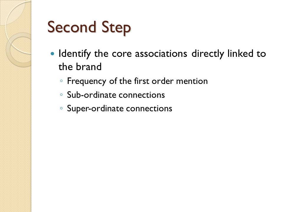 Second Step Identify the core associations directly linked to the brand ◦ Frequency of the first order mention ◦ Sub-ordinate connections ◦ Super-ordi