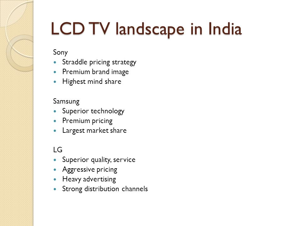 LCD TV landscape in India Sony Straddle pricing strategy Premium brand image Highest mind share Samsung Superior technology Premium pricing Largest market share LG Superior quality, service Aggressive pricing Heavy advertising Strong distribution channels