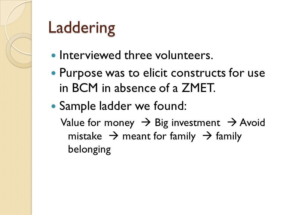 Laddering Interviewed three volunteers. Purpose was to elicit constructs for use in BCM in absence of a ZMET. Sample ladder we found: Value for money
