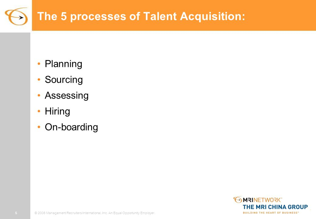 5© 2006 Management Recruiters International, Inc. An Equal Opportunity Employer. The 5 processes of Talent Acquisition: Planning Sourcing Assessing Hi