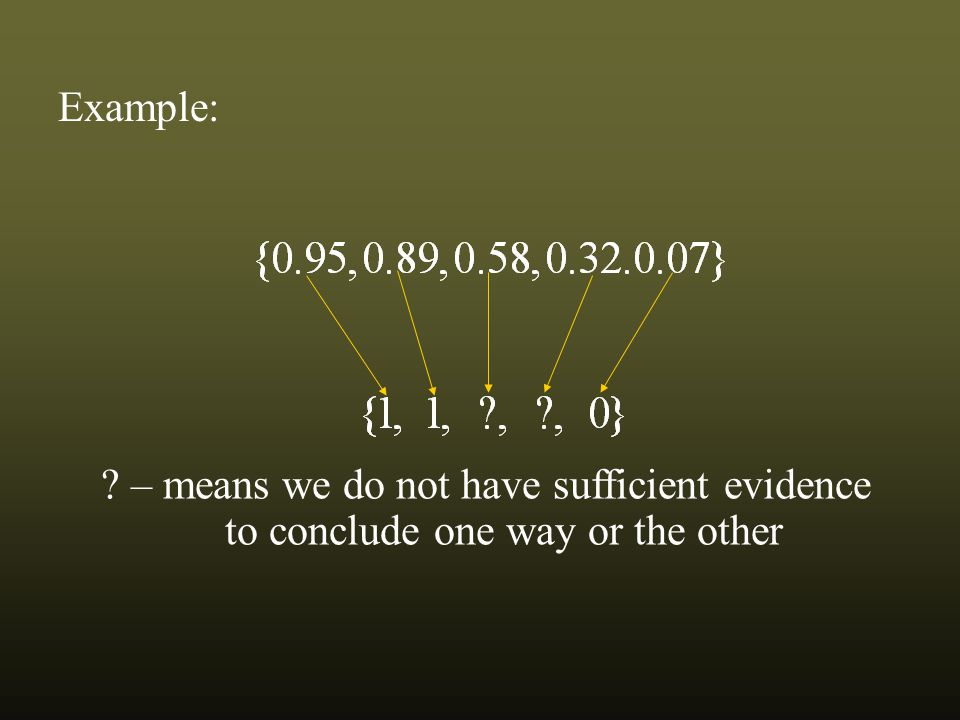 Example: – means we do not have sufficient evidence to conclude one way or the other