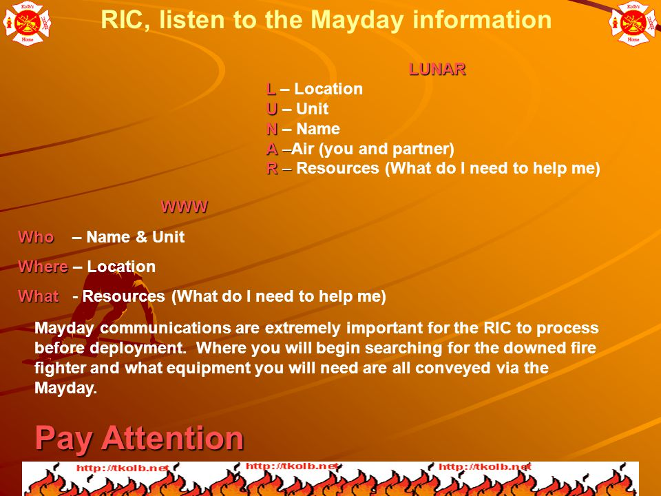 RIC, listen to the Mayday information LUNAR LUNAR L L – Location U U – Unit N N – Name A – A –Air (you and partner) R – R – Resources (What do I need