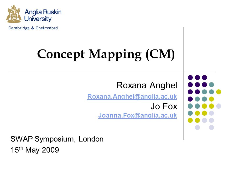 Concept Mapping (CM) Roxana Anghel Roxana.Anghel@anglia.ac.uk Jo Fox Joanna.Fox@anglia.ac.uk SWAP Symposium, London 15 th May 2009