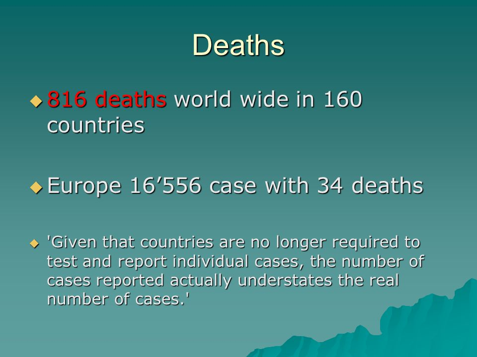 Deaths  816 deaths world wide in 160 countries  Europe 16'556 case with 34 deaths  Given that countries are no longer required to test and report individual cases, the number of cases reported actually understates the real number of cases.