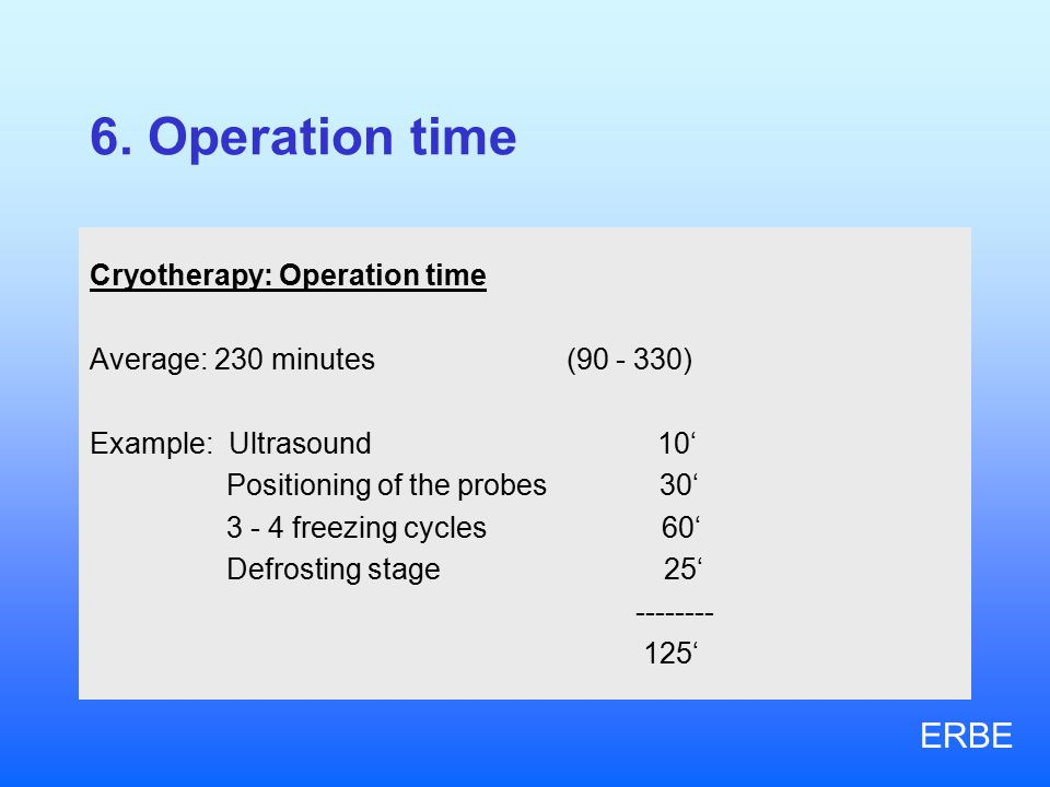 6. Operation time Cryotherapy: Operation time Average: 230 minutes (90 - 330) Example: Ultrasound 10' Positioning of the probes 30' 3 - 4 freezing cyc