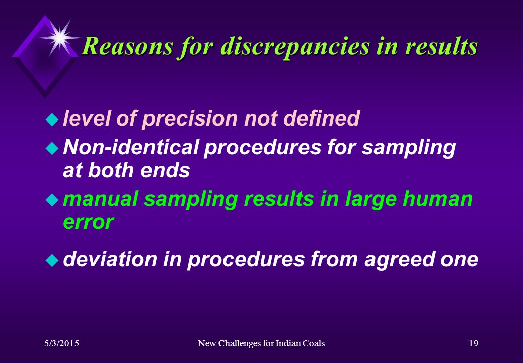 5/3/2015New Challenges for Indian Coals19 Reasons for discrepancies in results u level of precision not defined u Non-identical procedures for sampling at both ends u manual sampling results in large human error u deviation in procedures from agreed one