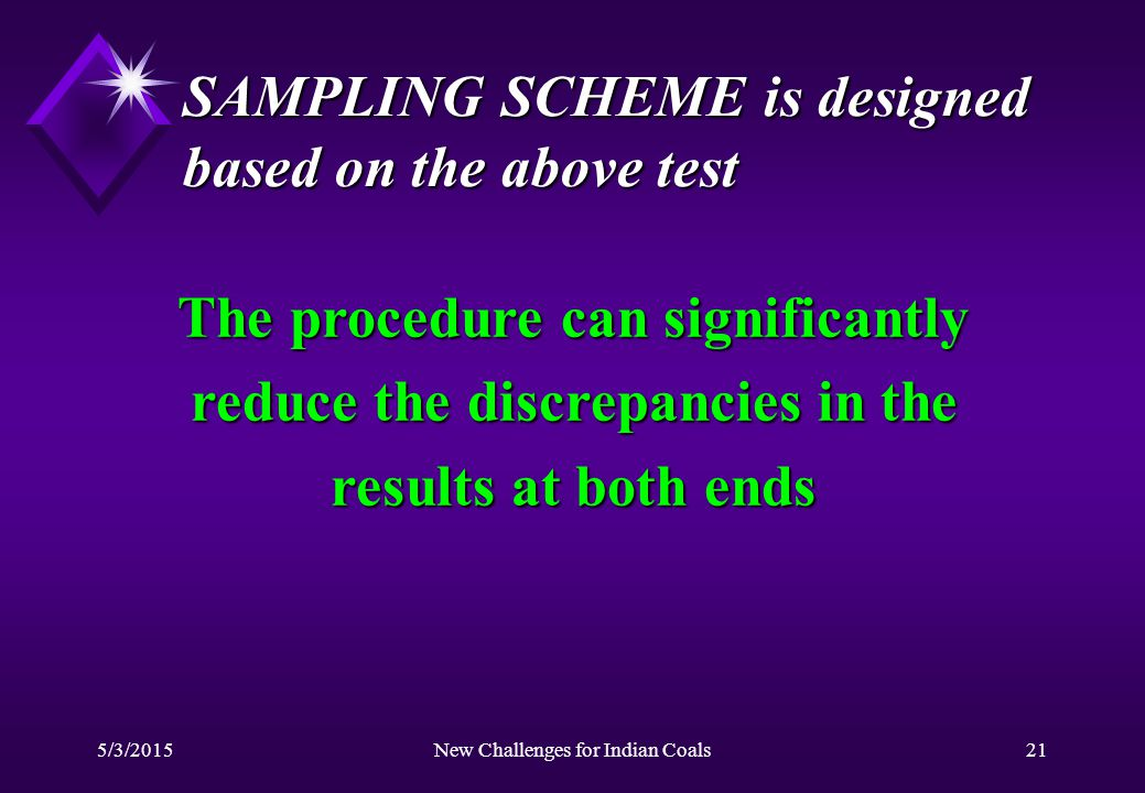 5/3/2015New Challenges for Indian Coals21 SAMPLING SCHEME is designed based on the above test The procedure can significantly reduce the discrepancies in the results at both ends