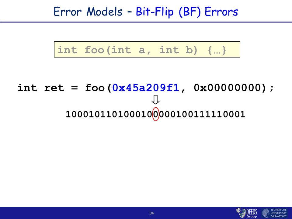 34 Error Models – Bit-Flip (BF) Errors int foo(int a, int b) { … } int ret = foo(0x45a209f1, 0x00000000); 1000101101000100000100111110001