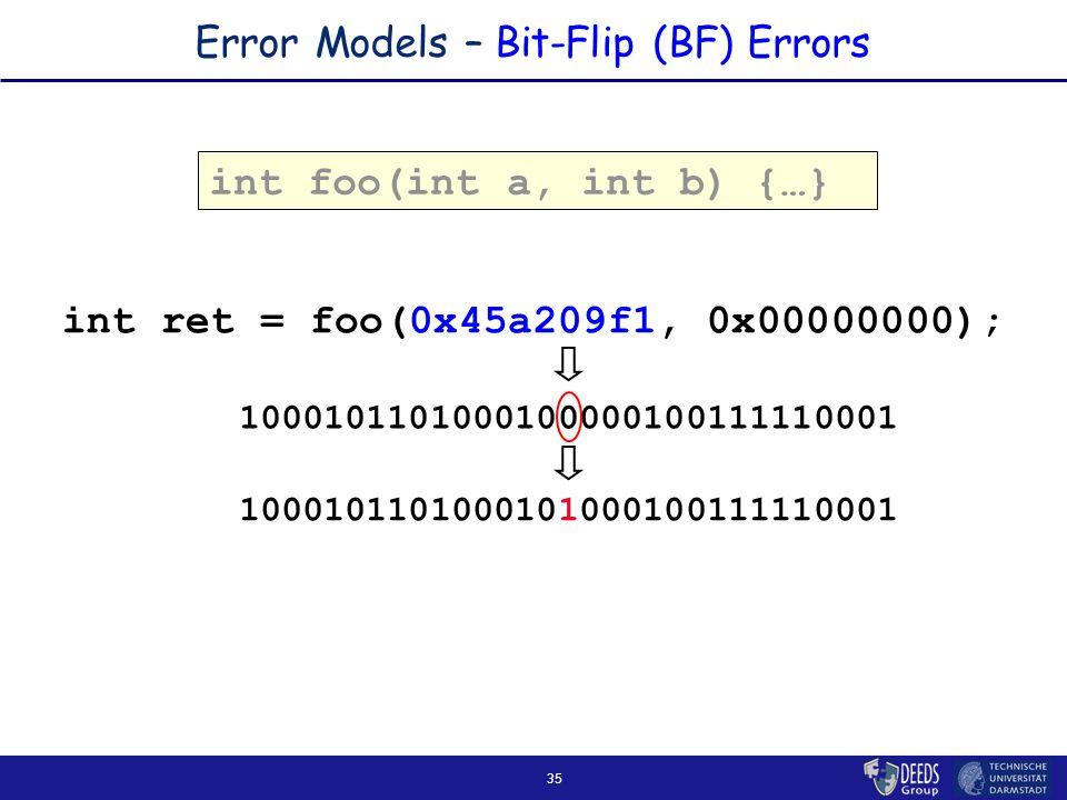 35 Error Models – Bit-Flip (BF) Errors int foo(int a, int b) { … } int ret = foo(0x45a209f1, 0x00000000); 1000101101000101000100111110001 1000101101000100000100111110001