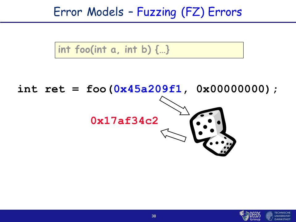 38 Error Models – Fuzzing (FZ) Errors int foo(int a, int b) {…} int ret = foo(0x45a209f1, 0x00000000); 0x17af34c2
