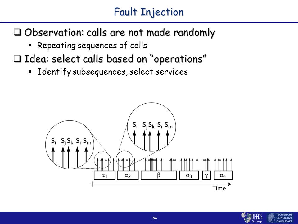64 Fault Injection  Observation: calls are not made randomly  Repeating sequences of calls  Idea: select calls based on operations  Identify subsequences, select services