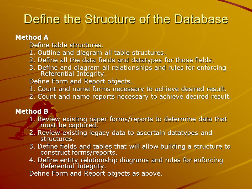Define the Structure of the Database Method A Define table structures.