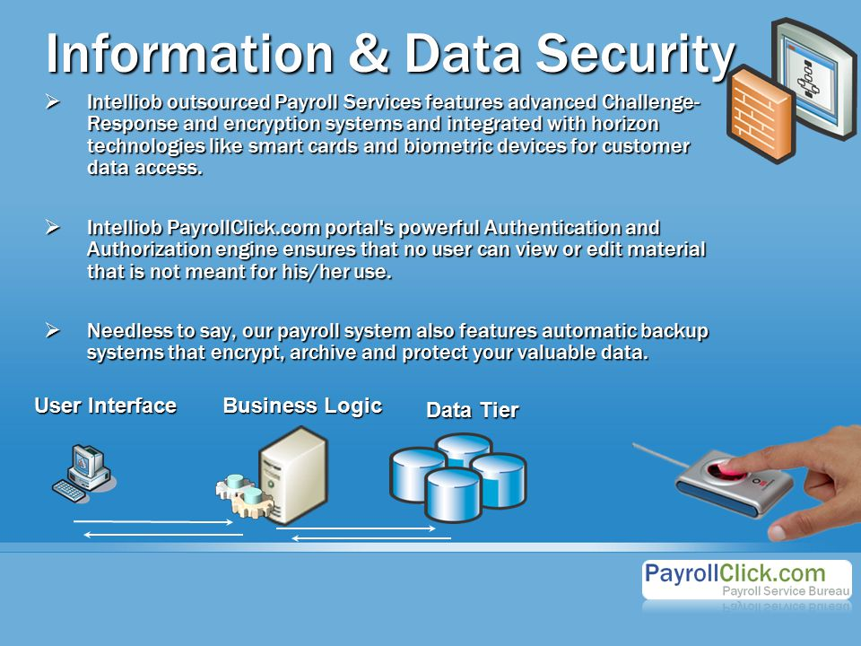 Information & Data Security  Intelliob outsourced Payroll Services features advanced Challenge- Response and encryption systems and integrated with horizon technologies like smart cards and biometric devices for customer data access.