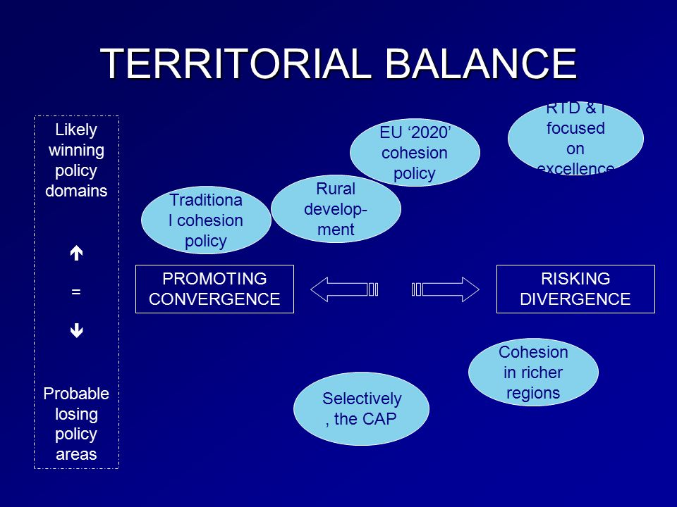 TERRITORIAL BALANCE PROMOTING CONVERGENCE RISKING DIVERGENCE Traditiona l cohesion policy EU '2020' cohesion policy RTD & I focused on excellence Selectively, the CAP Cohesion in richer regions Likely winning policy domains  =  Probable losing policy areas Rural develop- ment