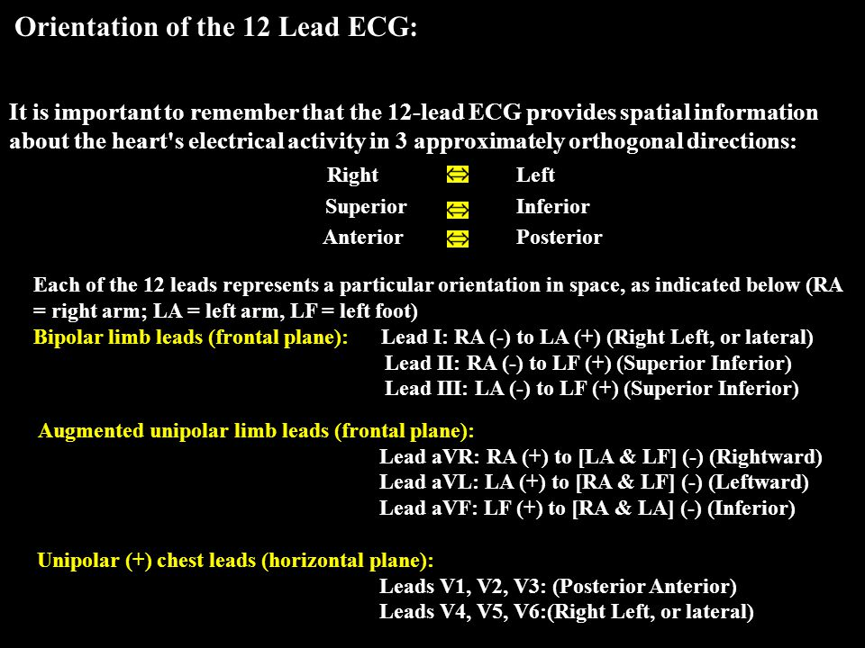 It is important to remember that the 12-lead ECG provides spatial information about the heart's electrical activity in 3 approximately orthogonal dire