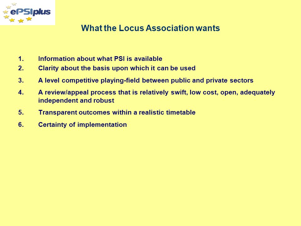 Some specific Locus Association concerns about the PSI Regulations What element of third party rights should exclude a dataset.