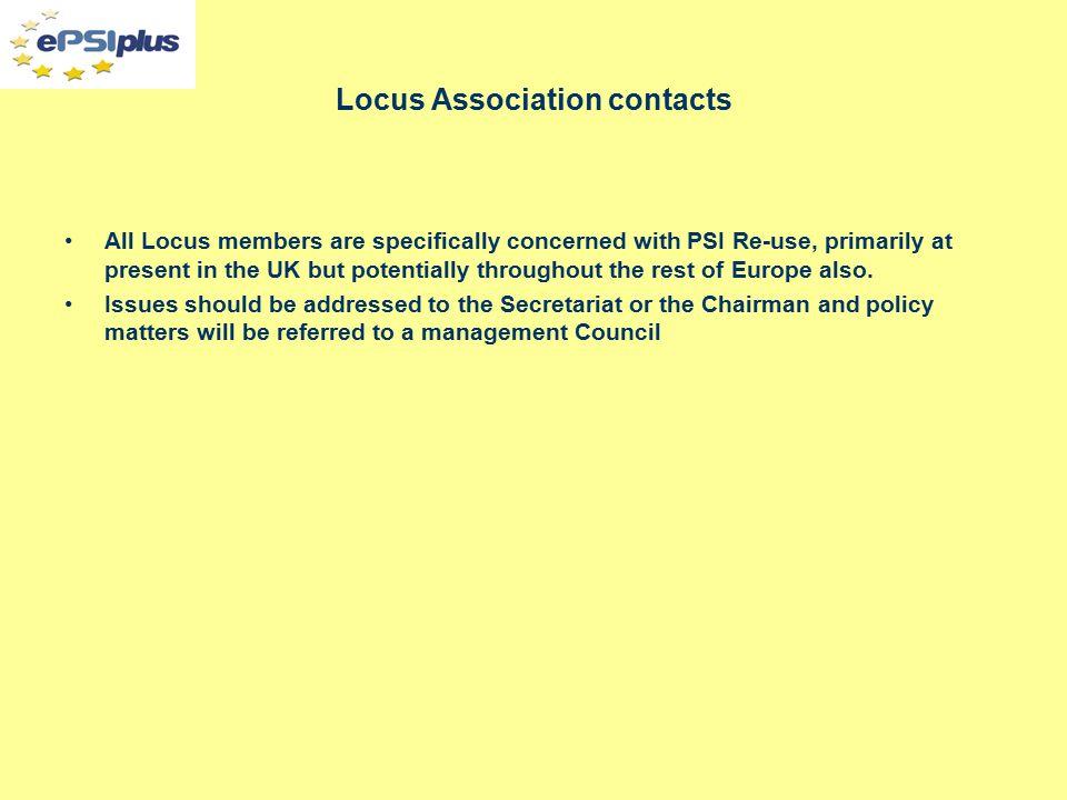 THE LOCUS ASSOCIATION PO Box 54826 London SW1Y 4XX Tel: 020 7930 9788 Fax: 020 7976 1680 Email: harriet@quintuspa.com Web: www.locusassociation.co.uk