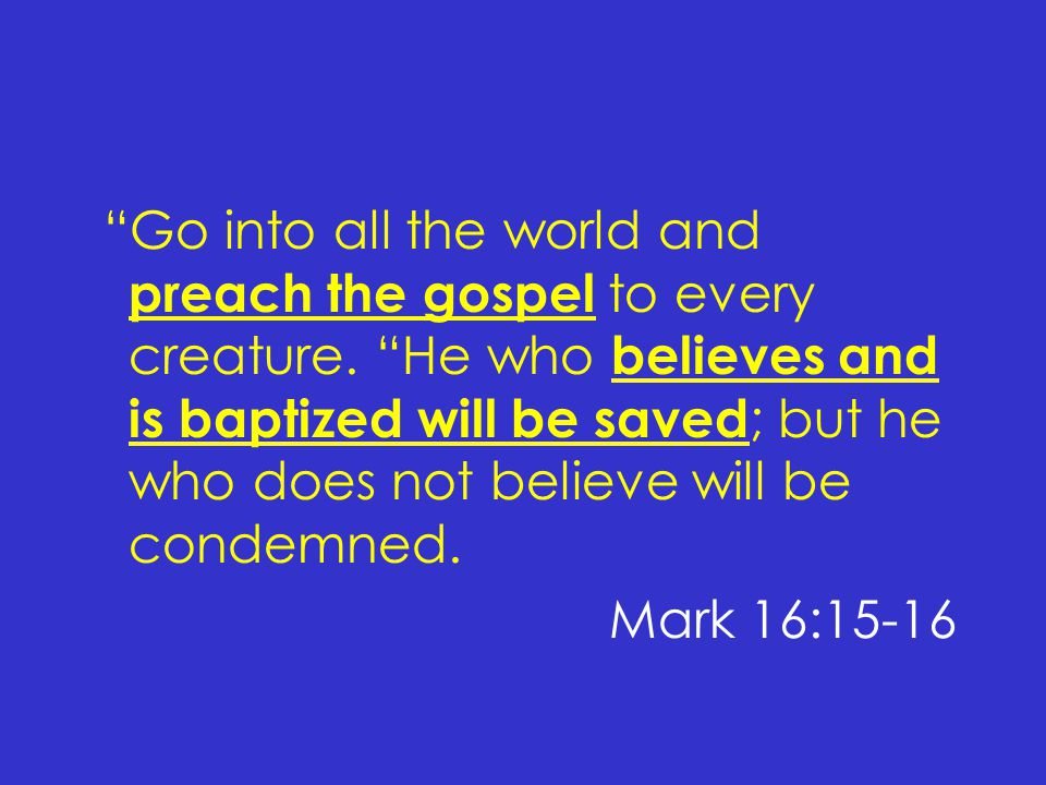 Go into all the world and preach the gospel to every creature.