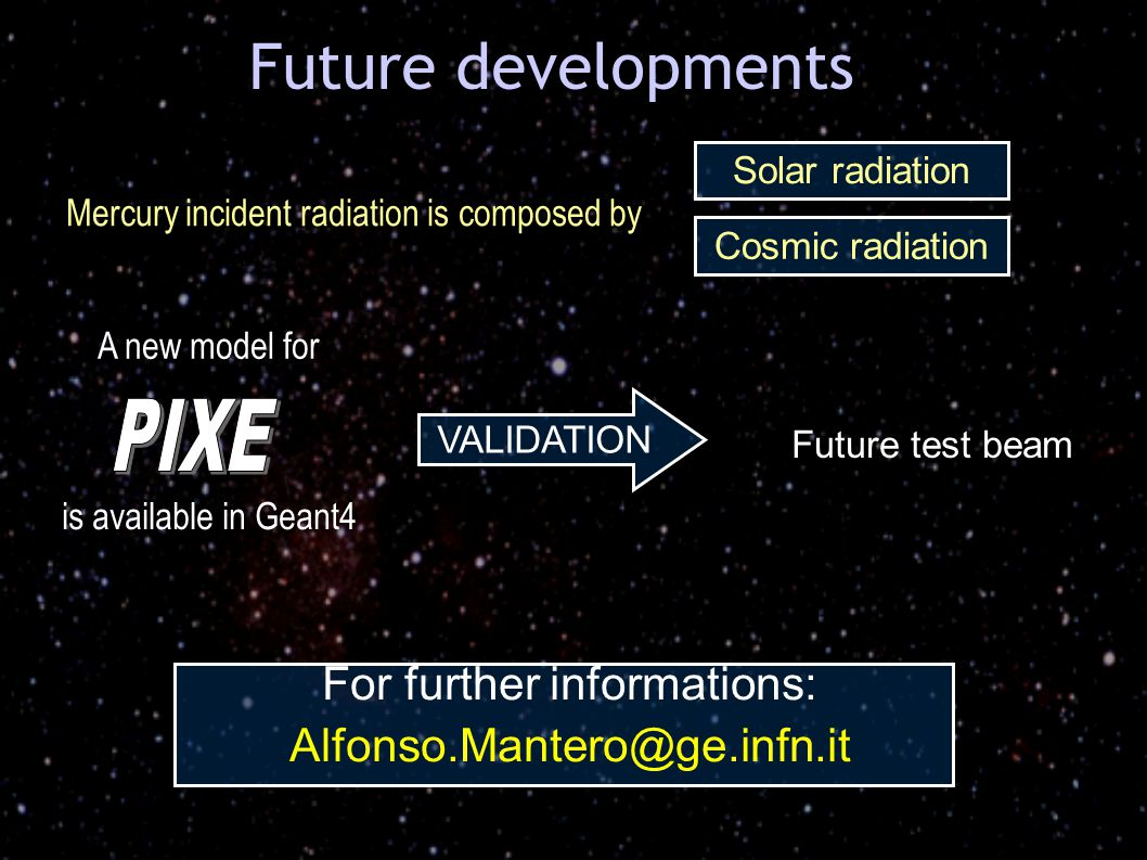For further informations: Alfonso.Mantero@ge.infn.it VALIDATION Future developments A new model for is available in Geant4 Future test beam Mercury incident radiation is composed by Solar radiation Cosmic radiation