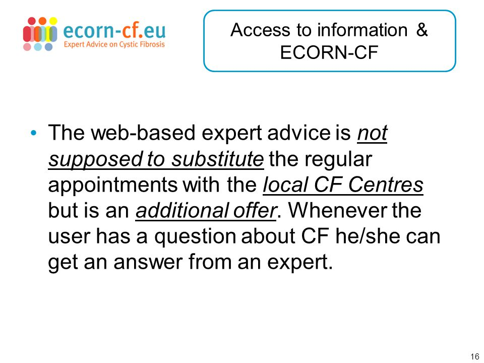 17 Access to information & ECORN-CF Illustration of the benefit: Imagine you would like to send serial letters by e-mail using an Excel sheet for the e-mail addresses and salutation and a Word document for the rest of the e-mail and then sending it out with Outlook.