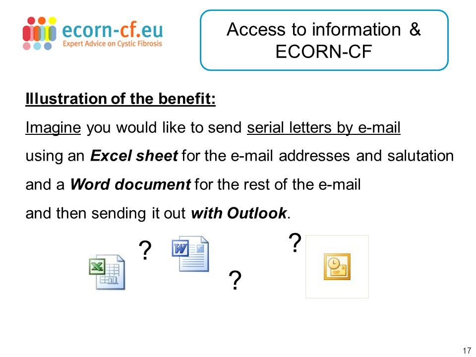 18 Access to information & ECORN-CF .You do not have a clue how to merge these three data sources.