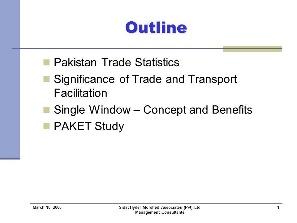 March 18, 2006 Sidat Hyder Morshed Associates (Pvt) Ltd Management Consultants 2 Pakistan's Trade Statistics Trend Analysis Source: Federal Bureau of Statistics.