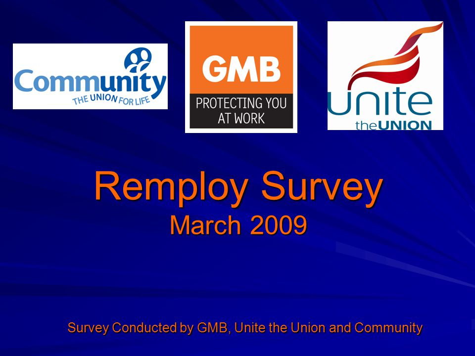 Remploy Survey March 2009 Survey Conducted by GMB, Unite the Union and Community