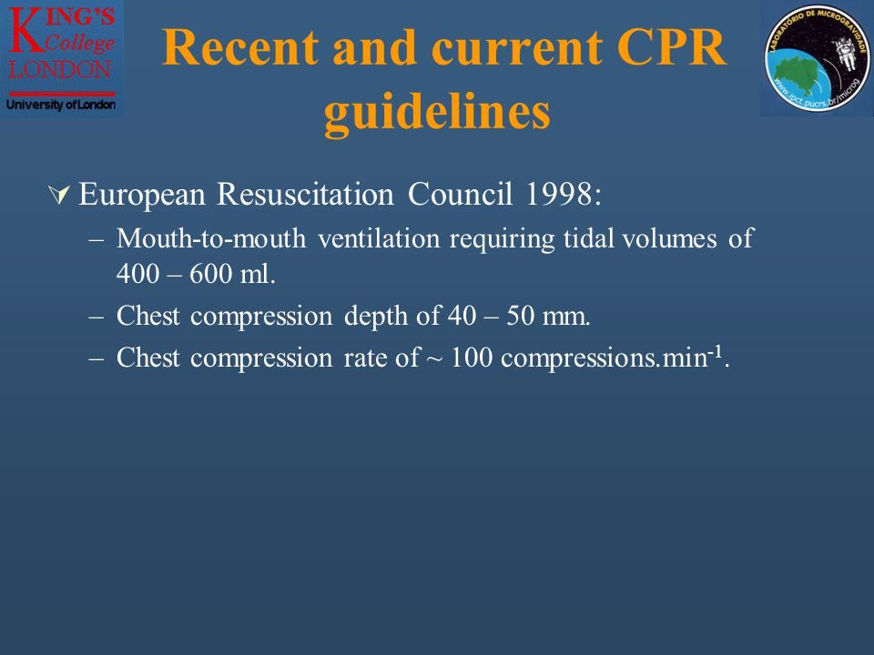 Discussion MeasureERHand Stand Rev Bear Hug ERC 98 Guidelines Chest Comp Depth (mm) 41.3 ± 1.0340.1 ± 0.5136.8 ± 0.64 40 – 50 Chest Comp Rate (per min) 80.2 ± 3.498.3 ± 6.389.3 ± 4.1 ~ 100 Tidal Volume (ml)491 ± 50.4--400 - 600