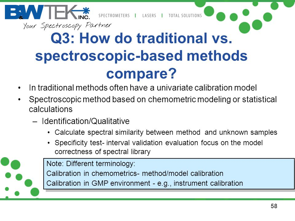Q3: How do traditional vs. spectroscopic-based methods compare? In traditional methods often have a univariate calibration model Spectroscopic method