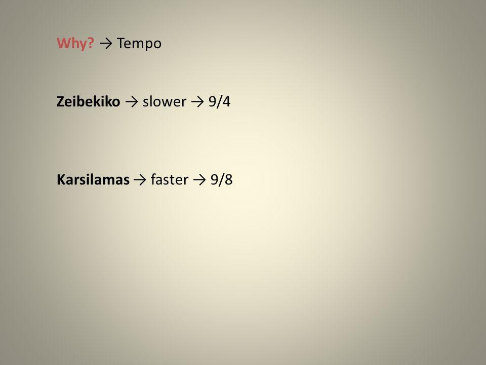 Why → Tempo Zeibekiko → slower → 9/4 Karsilamas → faster → 9/8