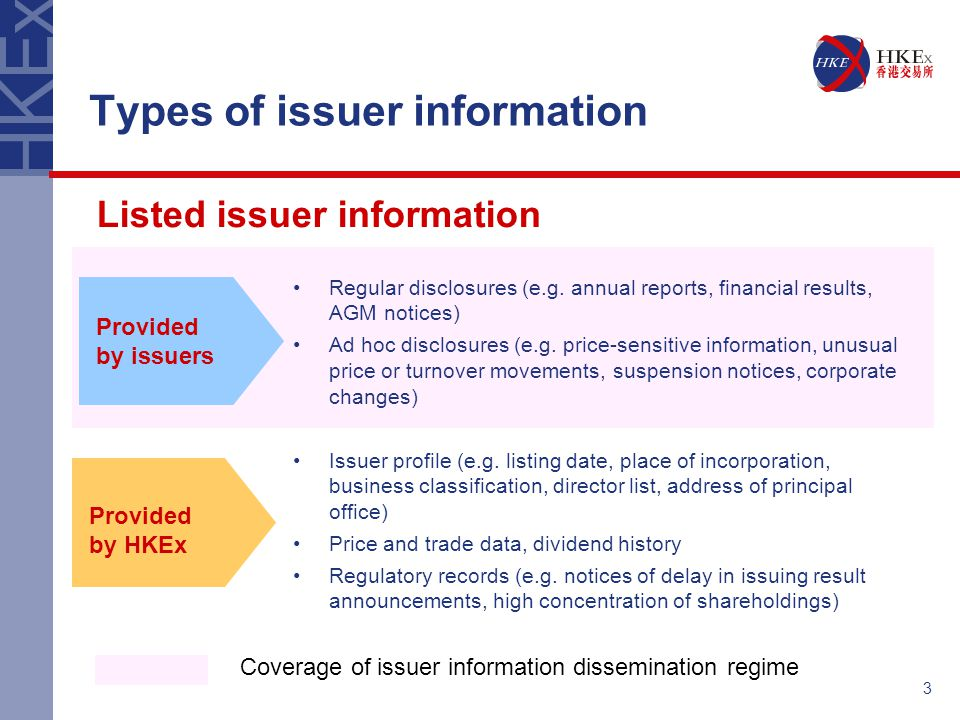 3 Types of issuer information Regular disclosures (e.g. annual reports, financial results, AGM notices) Ad hoc disclosures (e.g. price-sensitive infor