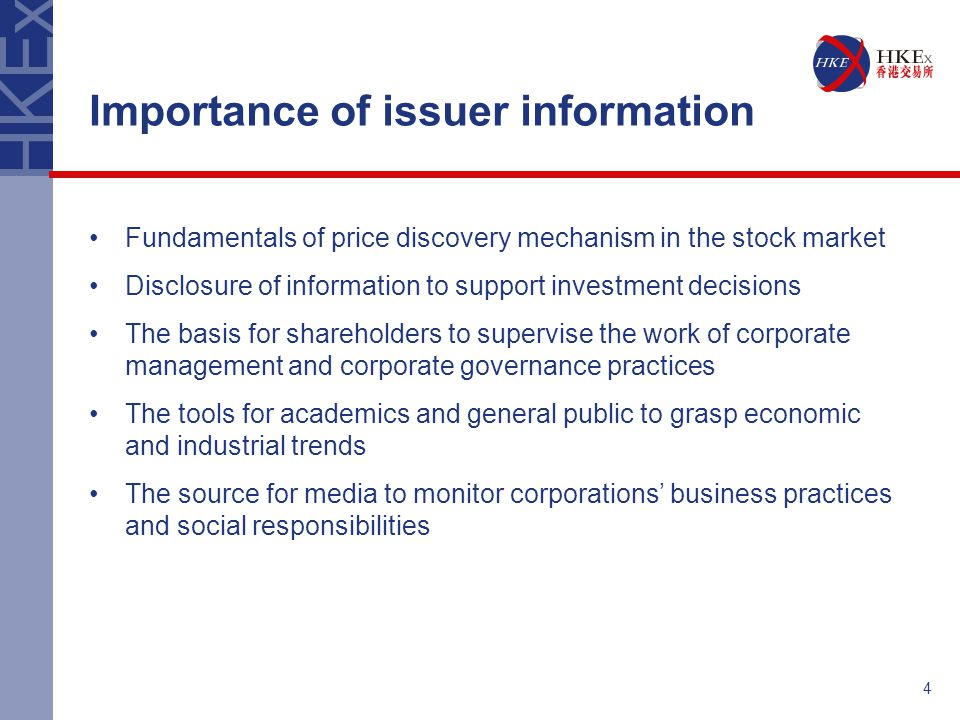 5 Development of issuer information dissemination regime 1999Issuer documents displayed at HKEx websites 2001Launch of e-Submission System 2003Launch of Disclosure of Interests Filing System 2003Introduction of Issuer Information Feed Services (IIS) Further Revamp in 2006/2007.